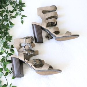 Forever 21 Suede Caged Buckle Heels